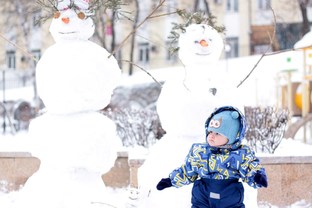 снеговик, зима, ребенок